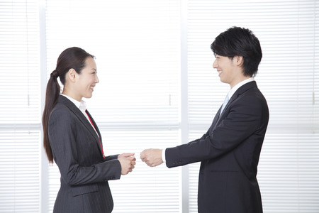 43740402 - business people to exchange business cards and ol