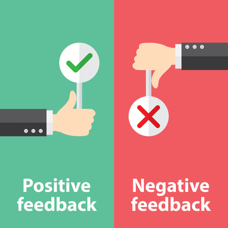 31476454 - business hand thumb up with true and false sign. vector illustration of positive and negative feedback concept. minimal and flat design