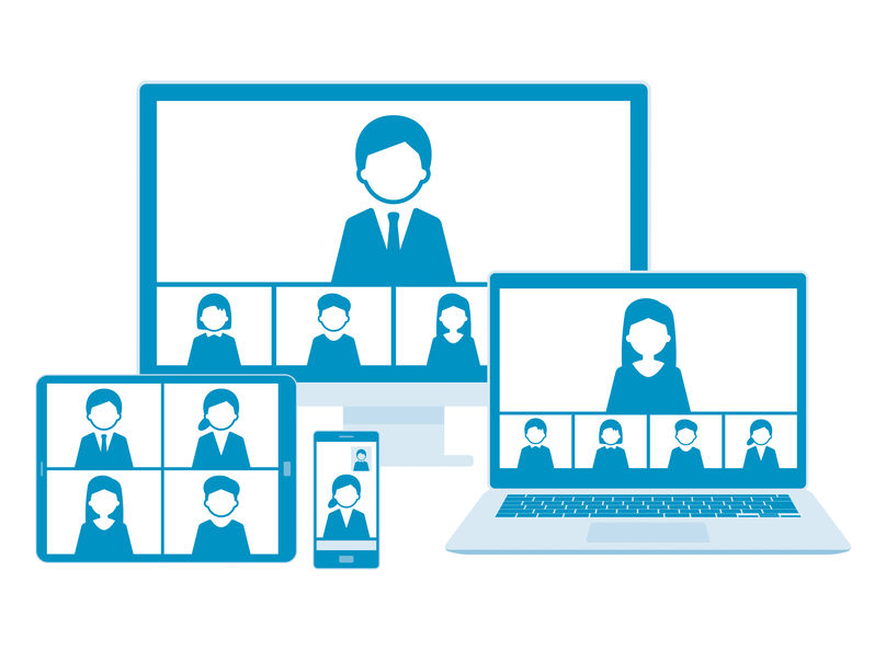 Web meeting with line illustration set,blue